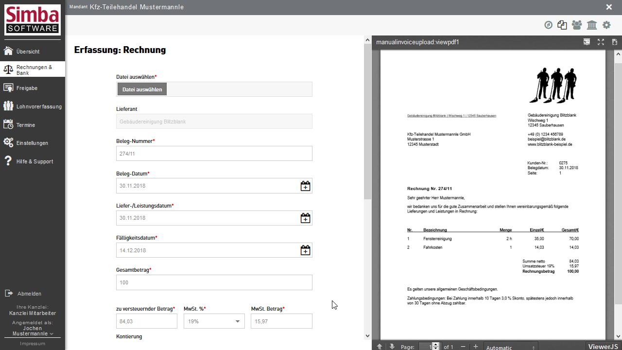 Simba Direkt - Rechnungen & Bank - Eingangsrechnung